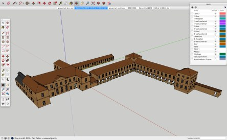 3d model of Gressenhall House of Industry around 1780 created by students of Carleton College, Minnesota