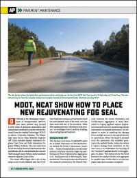 arch 2019 edition of AsphaltPro magazine features Mississippi DOT research with spray applied Delta Mist penetrating asphalt rejuvenator
