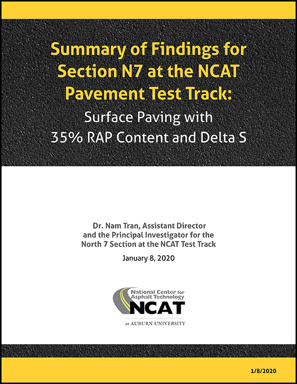 January 2020 Summary of Findings for Section N7 at the NCAT Pavement Test Track