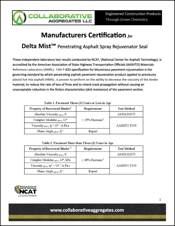 Manufacturers Certification of Delta Mist