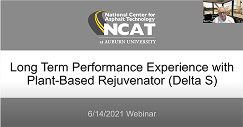 The National Center for Asphalt Technology at Auburn University in Alabama (NCAT) hosts a 6/14/2021 webinar on test track section North 7 researching the Delta S asphalt rejuvenator product during the 2015 and 2018 research cycles