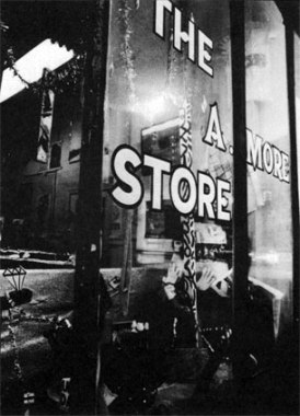12.Colab_A Moore Store_Exterior of the A. More Store, a Colab-sponsored artists' outlet selling low-priced multiples for the holiays, on Broome Street in Soho, 1980. Photo by TS