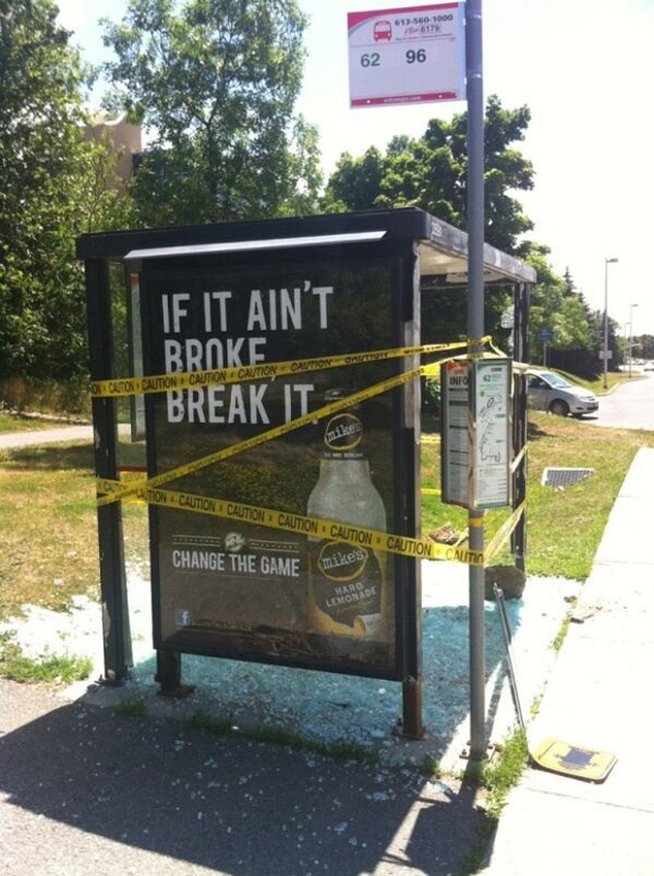 Mike's Hard Lemonade bus shelter fail