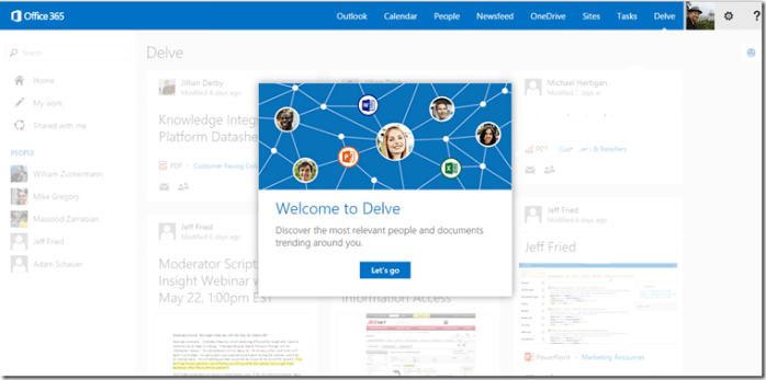 Delve Start Screen Office 365
