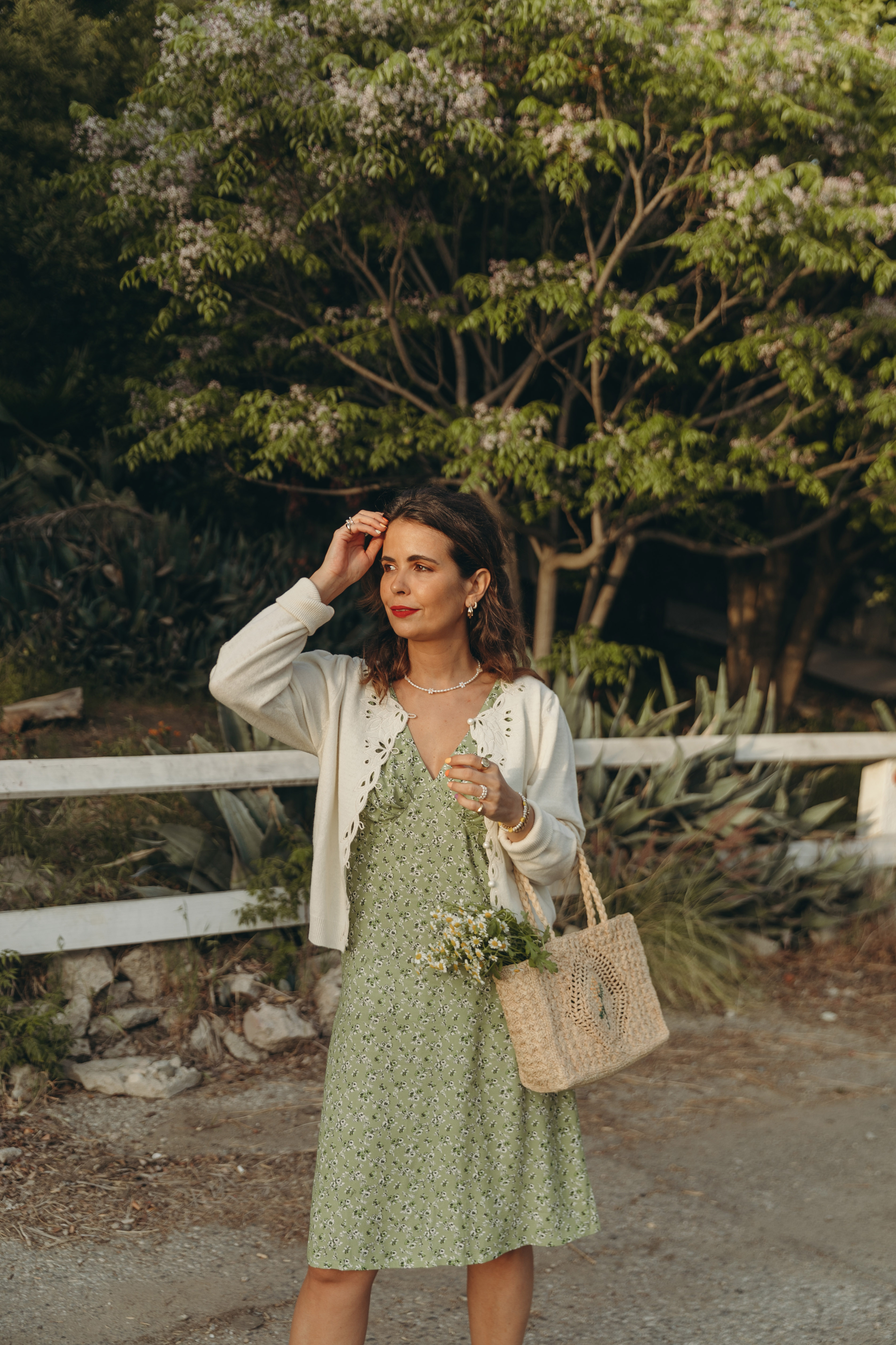 Sara from Collage Vintage wearing a Rouje spring dress, basket bag and high-heels sandals
