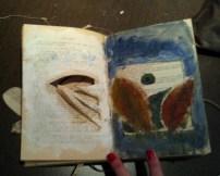 huecos, collage, gesso y pintura