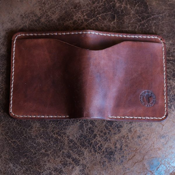 Outer billfold pocket on the Grizedale handmade mans leather wallet