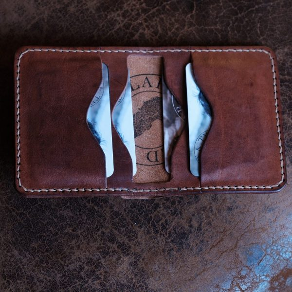 Inside card pockets on the Grizedale man's handmade leather wallet