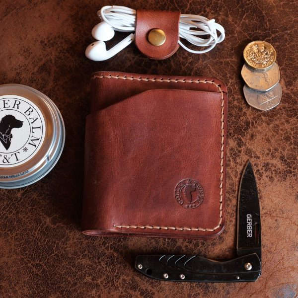 Grizedale handmade leather wallet with leather balm