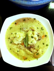 A hearty bowl of Chicken & Herb Dumplings Soup full of carrots, savory sage and fresh thyme will warm you this winter.