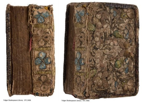 left: fore-edge and spine; right: top board and spine