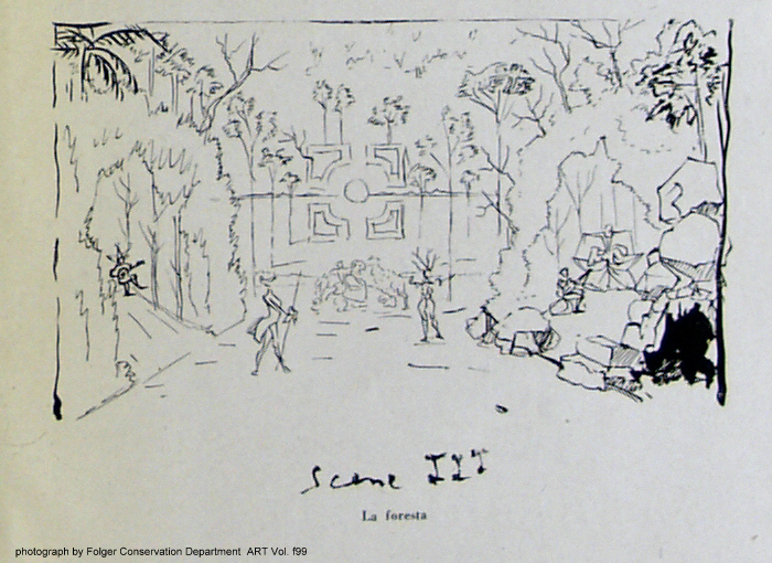Dali's sketch of a forest scene showing, in the middle, the Vanuer costume (click on the image to enlarge and see the entire opening)