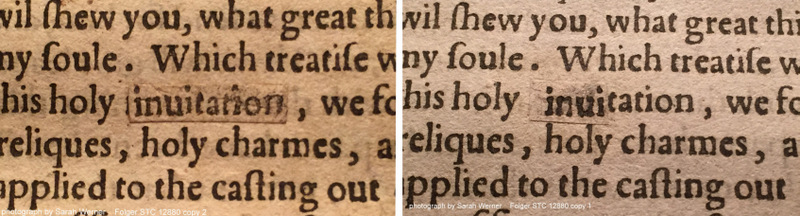 correcting a word, or part of a word (STC 12880 copy 2 on the left, copy 1 on the right; sig. B1r)