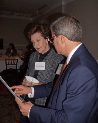 Ruth Cohoon (left) and Dean Mike Miller at the Dec. 10, 2018, Retired Faculty Luncheon