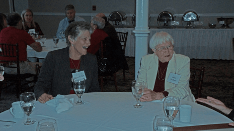 Sharon Hunt and Betty Wallace at the Dec. 10, 2018, Retired Faculty Luncheon