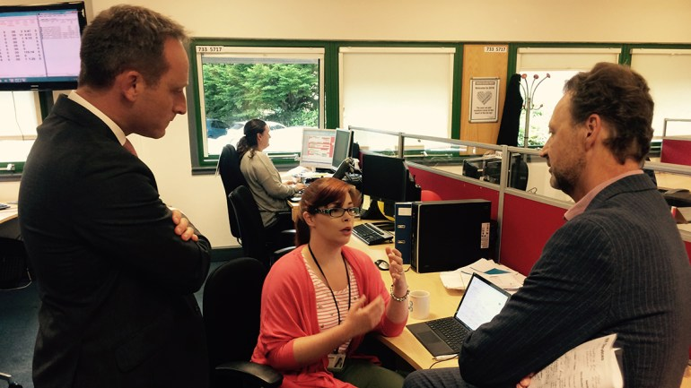 Steve and Matt Howells chatting to Probate Consultant Anezka
