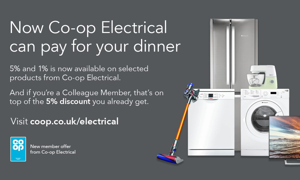 Colleague advert for the new Co-op Electrical offer on 5+1