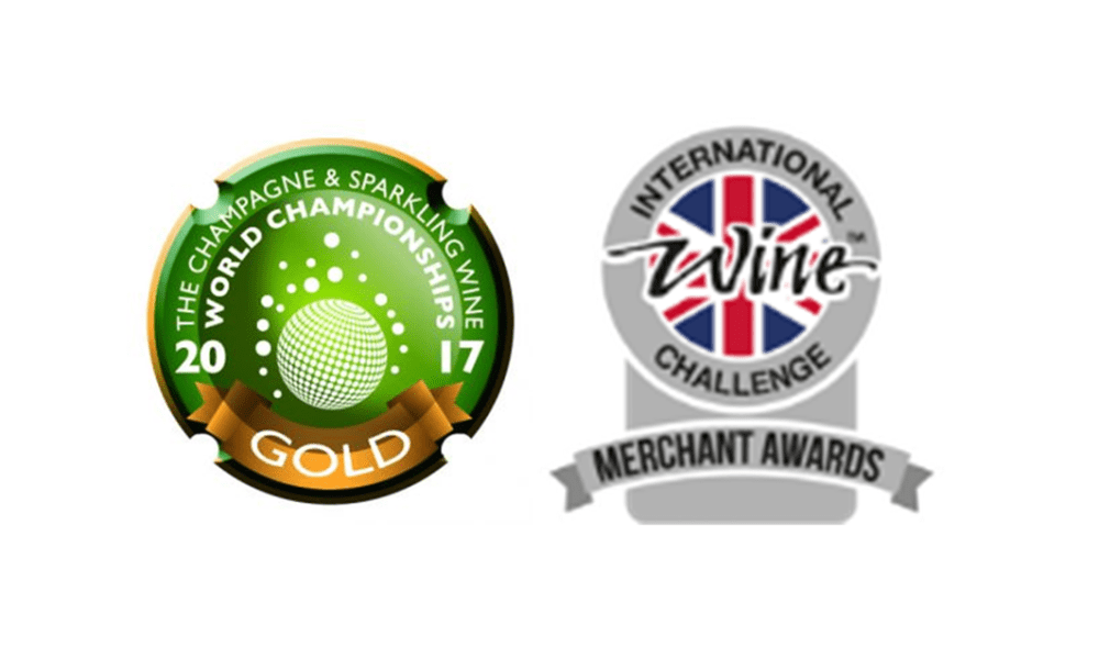 Logos for the International Wine Challenge merchant Awards and the Champagne and Sparkling Wine World Championships