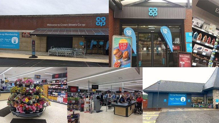 A montage of the inside and outside of Co-op stores in Aberdeen and Glasgow