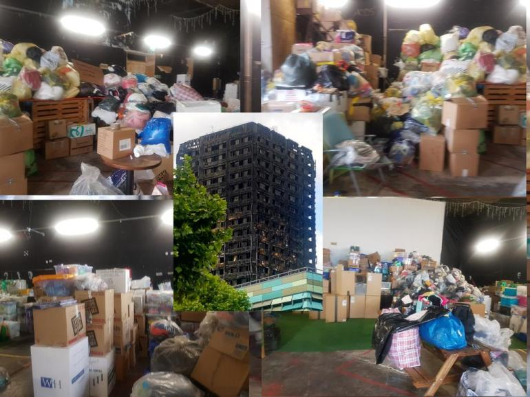 Supplies collected for the victims of Grenfell