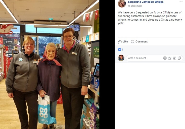 Saying thank you to a caring customer