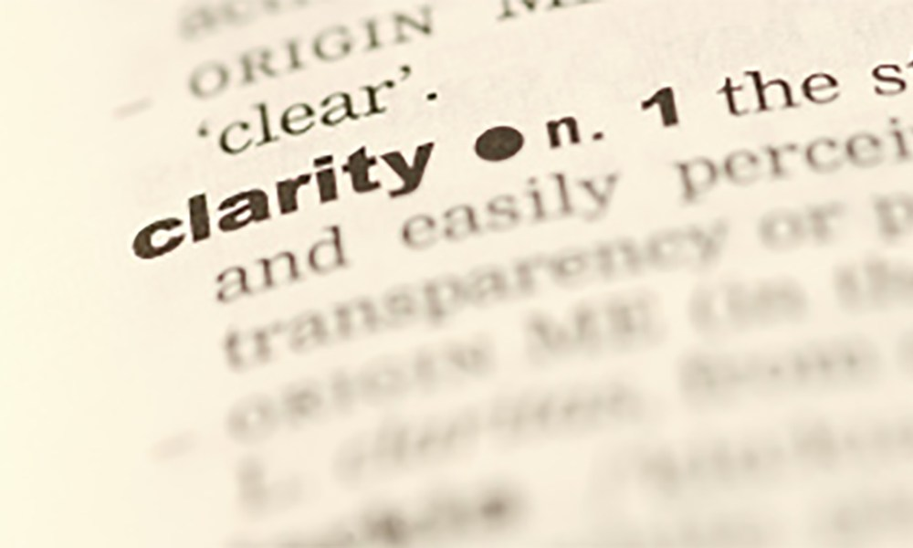 word clarity in focus in a dictionary