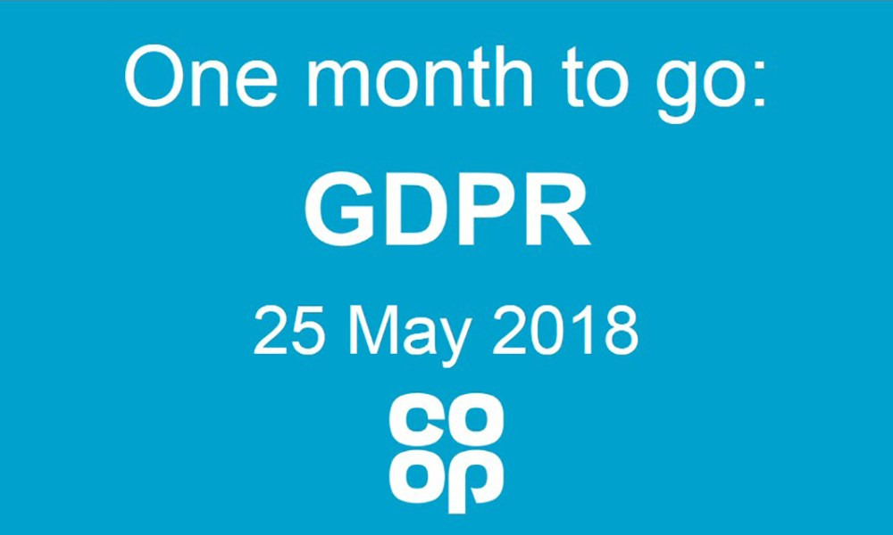 Graphic saying: one month to go - GDPR - 25 May 2018