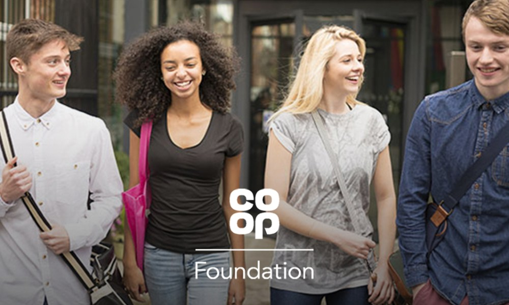 young people with 'Co-op Foundation' graphic