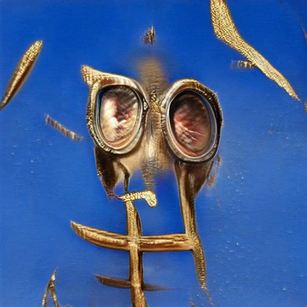 golden gas mask eyes with grid structure on a blue gold flecked background