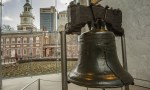 The Liberty Bell with Independence Hall in the Background
