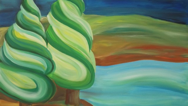island trees 36x42 painting janet bright art