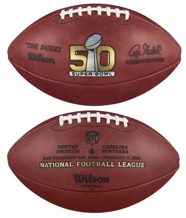 SUPER BOWL 50 WILSON LEATHER OFFICIAL NFL FOOTBALL w/ TEAM ...