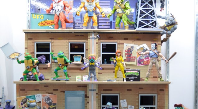 EXCLUSIVE pre-sale through thenecastore.com is the Teenage Mutant Ninja Turtles (Cartoon) – TMNT Cartoon Street Scene Diorama!