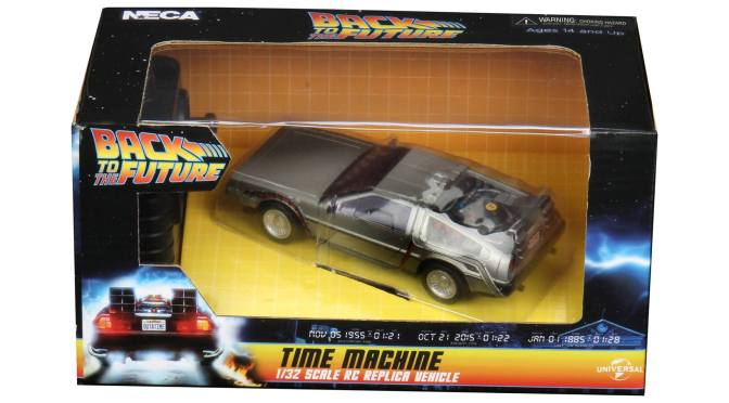 The BackToTheFuture RC Time Machine and 7″ Scale Action Figure – Ultimate Tales From Space Marty are available