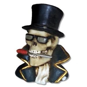 Debonair Skeleton Bust Figurine