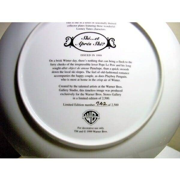 Pepe Le Pew Penelope Plate back view