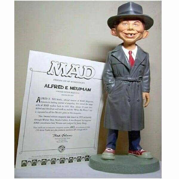 Alfred Newman MAD Statue with certificate