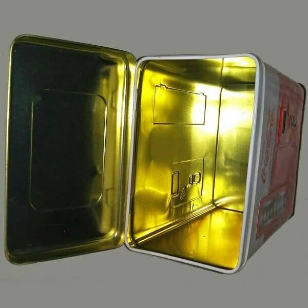 Coca-Cola Vending Machine Tin inside view