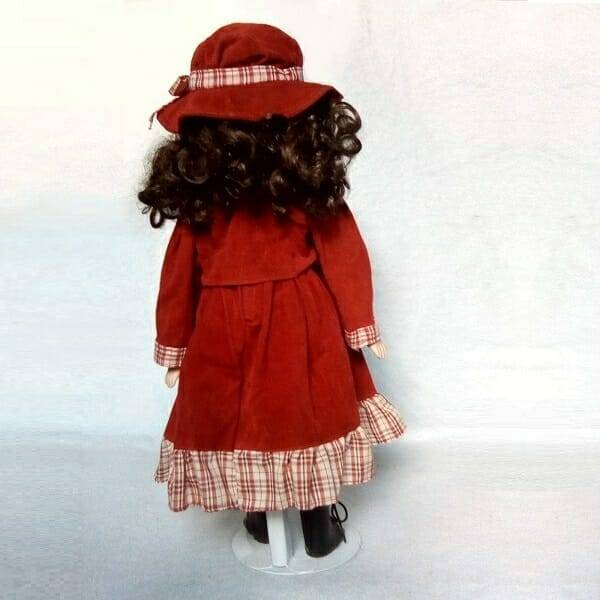 Brunette Doll On Stand back view