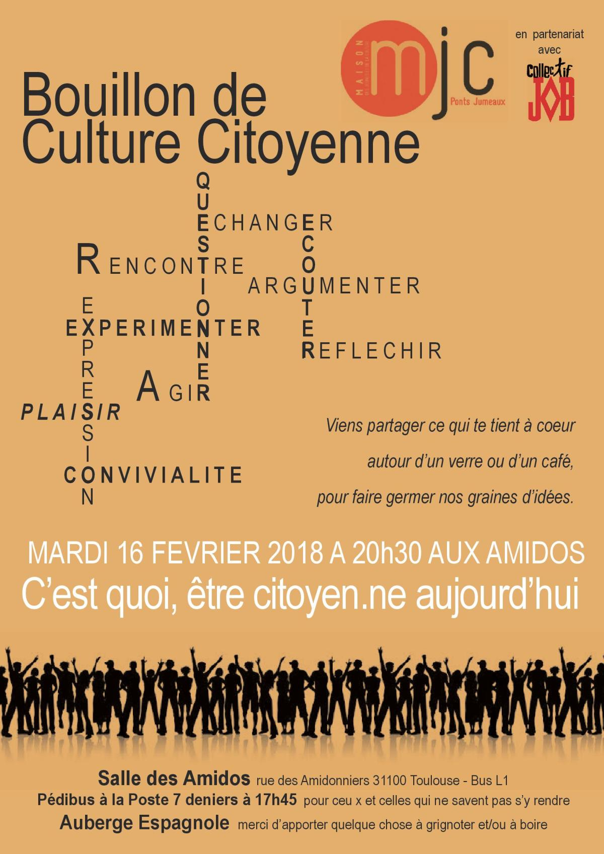 Bouillon de culture citoyenne – Vendredi 16 février à 20h30