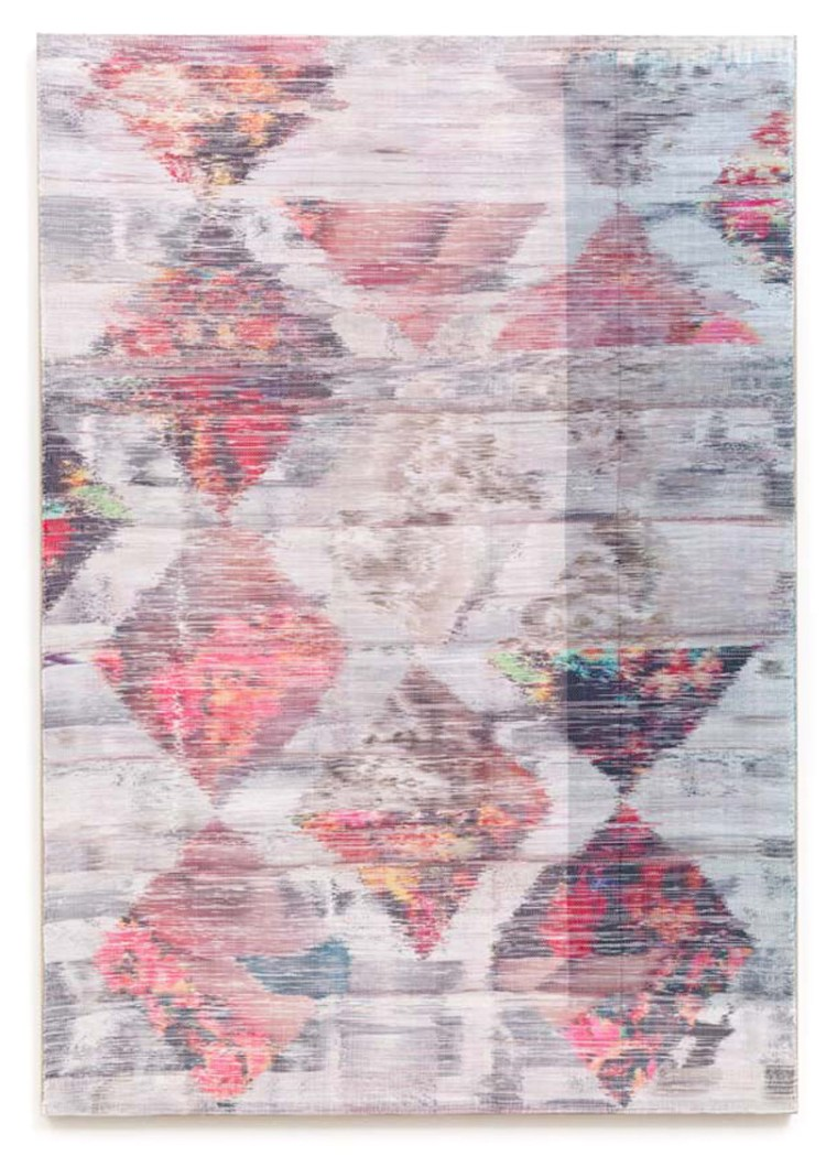 Margo Wolowiec - You'll Be Missed Too, 2014, Handwoven polyester, cotton, dye sublimation ink, fabric dye.