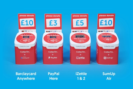 CollecTin V2 Fundraising Booster Kit customised with graphics wrap for iZettle SumUp Barclaycard and PayPal Here