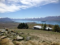 View towards the far end of Lake Tekapo from Mt John summit.