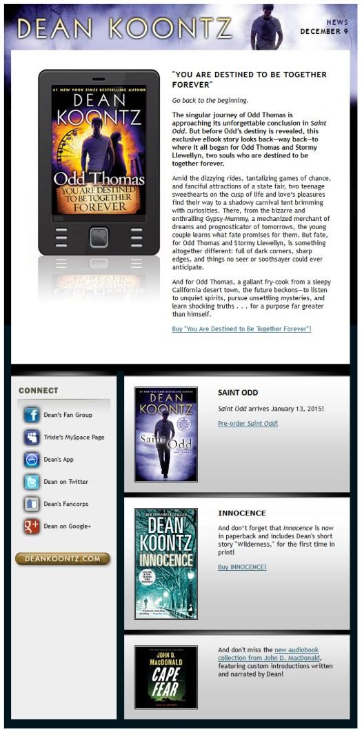 2014.12.09 Dean Koontz News