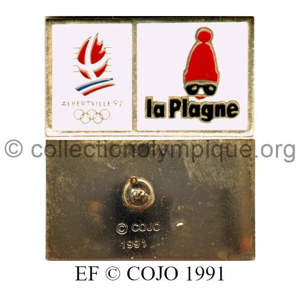 133 03 sites olympiques La Plagne logo émail à froid signé © COJO 1991