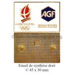 02 01 Albertville 1992 pin's Club Coubertin sponsor AGF émail de synthèse doré 45 x 30 mm signé ©
