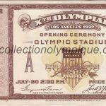1932 Los Angeles billet olympique cérémonie d'ouverture, 30/07/1932, 11,1 x 6,65 cm