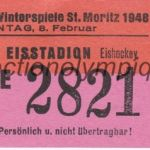 1948 St Moritz billet olympique hockey 08/02/1948, recto 9,3 x 4,1 cm