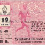 1952 Helsinki billet olympique cérémonie d'ouverture 19/07/1952, 11,5 x 8,9 cm