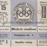1952 Oslo billet olympique cérémonie d'ouverture 15/02/1952, 10,8 x 9,4 cm